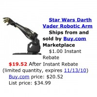 Need a new arm? Who doesn't. Why settle for an ordinary arm when you can have a Darth Vader Robotic arm for less than $20?!