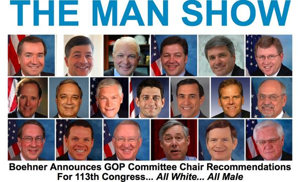Boehner announces GOP Committee Chair recommendations: all white, all male.