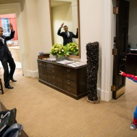 Obama pretends to be caught in Spider Man's web #awesome