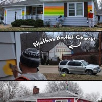 Guy creates rainbow-painted LGBT Equality House in front of Westboro Baptist Church. #awesome